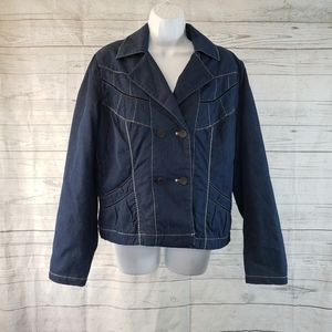 Blue Willis Double Breasted Jacket Blue Sz Lrg